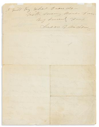 ANTHONY, SUSAN B. Autograph Letter Signed, to William Van Benthuysen,