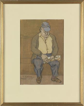 JOSEPH-SOLMAN-Seated-Man-with-Hat-and-Newspaper-on-the-Subwa