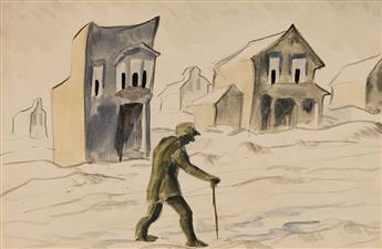 CHARLES BURCHFIELD Man Walking with a Cane outside Gazing Houses.