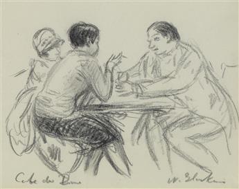 WILLIAM-GLACKENS-Figures-Seated-at-a-Table-Café-du-Dôme-Pari