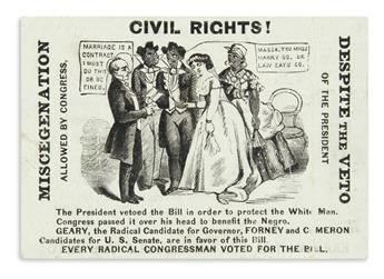 (RECONSTRUCTION.) Civil Rights! Miscegenation Allowed by Congress, Despite the Veto of the President.