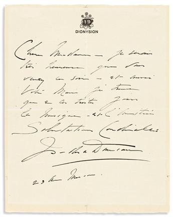 DUNCAN, ISADORA. Autograph Letter Signed, to Madame la Comtesse Godin de Lupé, in French,