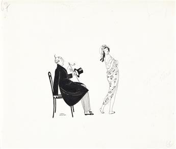 GERDA WEGENER (1886-1940) Two drawings of befuddled men with young women.