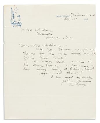 """SLOCUM, JOSHUA. Two Autograph Letters Signed, to """"Dear Mrs. Anthony."""""""