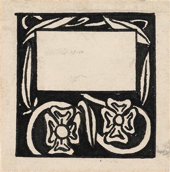 AUBREY-BEARDSLEY-Three-Stylized-Leaves--Two-Dog-Roses