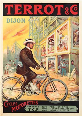FRANCISCO TAMAGNO (1851-1933). TERROT & CO. / CYCLES MOTORETTES. 1909. 54¼x38¼ inches, 137¾x97 cm. La Lithographie Parisienne Rubin, Pa