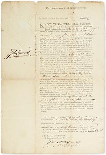 HANCOCK, JOHN. Partly-printed Document Signed, as Governor, appointing Silas Taylor Justice of the Peace
