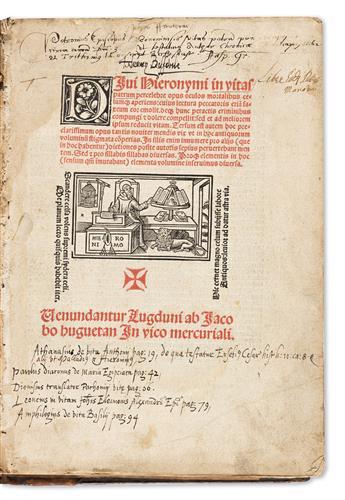 Hieronymus, Saint Jerome (c. 342-420 CE) Divi Hieronymi in Vitas Patrum Perecelebre Opus.