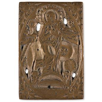 (MEXICO.) Colonial-era copper engraving plate, accompanied by the novena in which it was used.