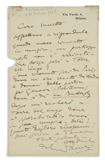 "PUCCINI, GIACOMO. Autograph Letter Signed, to Gaston Knosp (""Dear Maestro""), in Italian,"