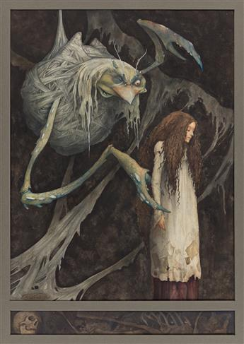 """BRIAN FROUD (1947- ) """"One day I saw a large bunch of twigs . . . bound in cobwebs and hanging by a thin thread."""""""