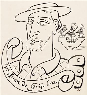 """MIGUEL COVARRUBIAS (1904-1957) """"Juan de Grijalva."""" [MEXICO / EXPLORERS]"""