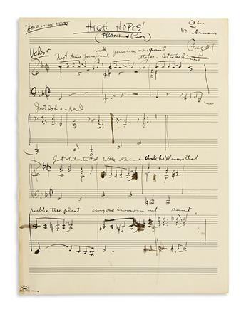 VAN HEUSEN, JIMMY. Autograph Musical Manuscript Signed, twice, in full or Van Heusen, working draft for the vocal score of High Hope