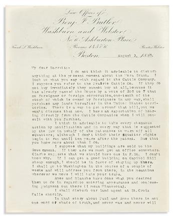 BUTLER, BENJAMIN F. Typed Letter Signed, Benj Butler, to his legal partner O.D. Barrett,