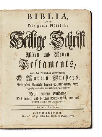 (BIBLE IN GERMAN.) Biblia, das ist: Die ganze Gottliche Heilige Schrift Alten und Neuen Testaments.