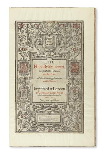 BIBLE IN ENGLISH.  The Holy Byble, conteining the Olde Testament and the Newe.  1585
