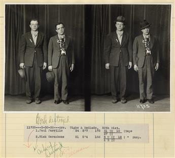 (CRIME) Police Department album with 88 scarce full standing photographs of Chicago-based hoodlums accused of an assortment of crimes,