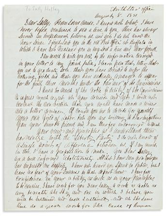 DOUGLASS, FREDERICK. Autograph Letter Signed, to Sallie Holley (Dear Sally),