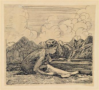 ROCKWELL KENT. Rocky with toy boat.