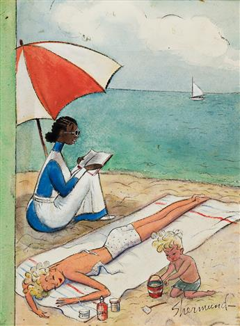 BARBARA SHERMUND (1899-1978) A Day at the Beach. [COVER ART / NEW YORKER]