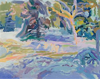 NELL BLAINE Snowscape with Fir and Birch.