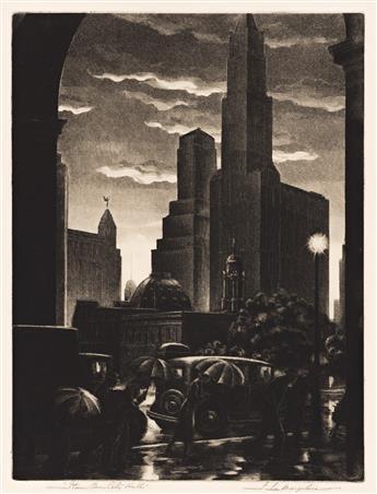 SAMUEL MARGOLIES (1897-1974) Storm Over City Hall.