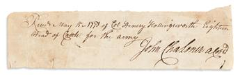 (AMERICAN REVOLUTION--1778.) John Chaloner. Receipt for cattle delivered to Valley Forge.