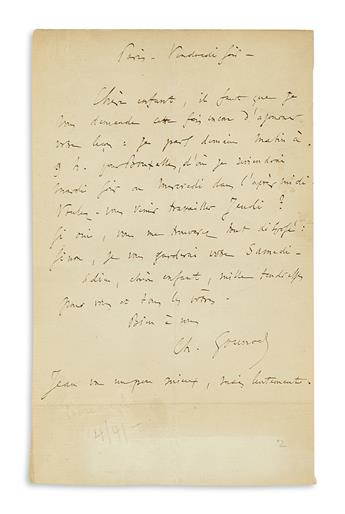 GOUNOD-CHARLES-Two-items-each-Signed-Ch-Gounod-Autograph-Musical-Quotation-Inscribed--Autograph-Letter