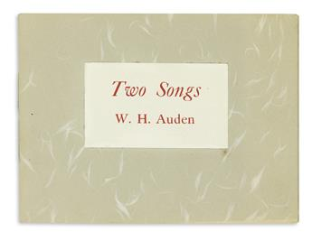 AUDEN, W.H. [and] ZUKOFSKY, LOUIS. Two Songs * Initial.