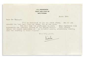 """MENCKEN, H.L. Two Typed Letters Signed, to """"Mr. Hawkins"""" or """"Mr. Weaver,"""""""