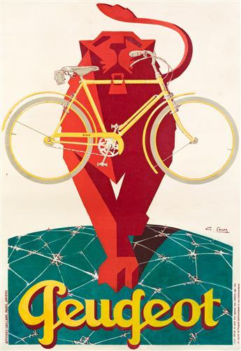 GEORGES FAVRE (DATES UNKNOWN).  PEUGEOT. 1928. 45½x30¾ inches, 115½x78 cm. Gaillard, Paris.