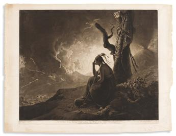 John Raphael Smith, engraver; after Joseph Wright. The Widow of an Indian Chief Watching the Arms of Her Deceas'd Husband.