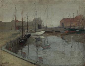 ABRAHAM WALKOWITZ (1878-1965) Wharf Scene (Gloucester).