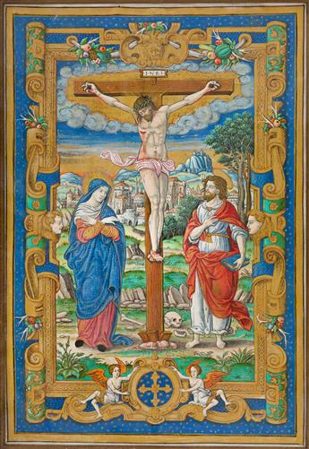 Hand-colored Large-format Illumination of the Crucifixion.