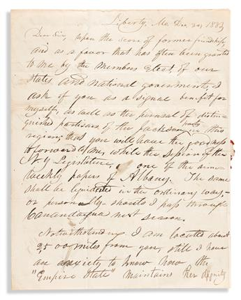 (MORMONS.) W.W. Phelps. Early letter by the pioneering church publisher, just months after the burning of the Book of Commandments.