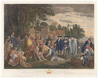 (COLONIAL ERA.) John Hall, engraver; after West. William Penn's Treaty with the Indians, when he Founded the Province of Pensylvania.