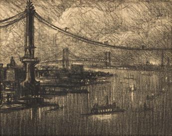 JOSEPH PENNELL Manhattan Bridge at Night, Looking Toward Williamsburg.