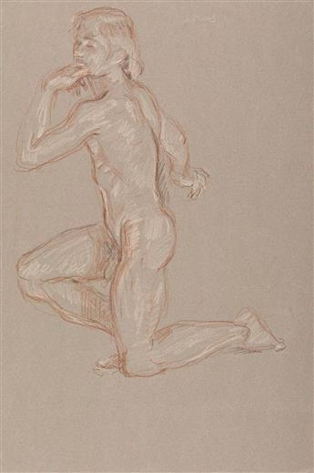 PAUL CADMUS (1904 - 1999) Kneeling Male Nude.
