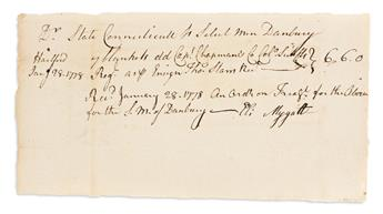 (AMERICAN REVOLUTION--1778.) Receipt for blankets for Connecticut troops at Valley Forge.