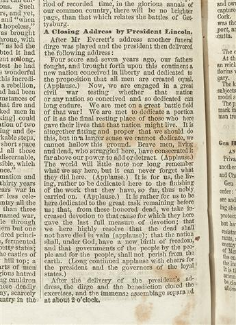 LINCOLN, ABRAHAM. Bound volume of the Springfield Daily Republican volume featuring the Gettysburg Address--and a very early response.