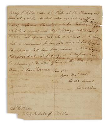 (AMERICAN REVOLUTION.) CORNWALLIS, CHARLES. Autograph Letter Signed, Cornwallis, to Deputy Inspector of Militia Abraham de Peyster,
