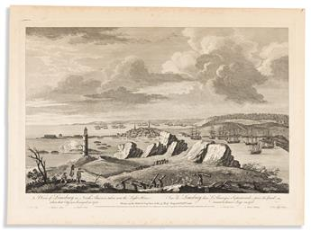 (FRENCH & INDIAN WAR.) Pierre Canot, engraver; after Ince. A View of Louisburg in North America . . . when that City was Besieged.