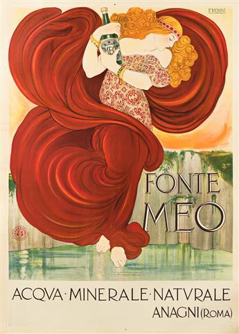 FRANCESCO NONNI (1885-1976).  FONTE MEO / ACQUA MINERALE NATURALE. 1924. 55x39 inches, 139¾x99 cm. E. Guazzoni, Rome.