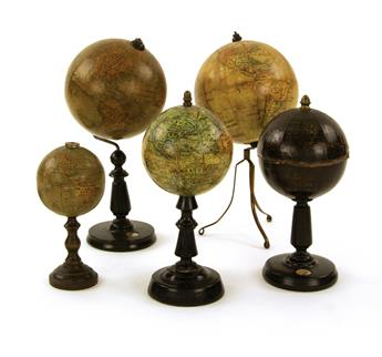 (GLOBES.) Group of 5 miniature globes.