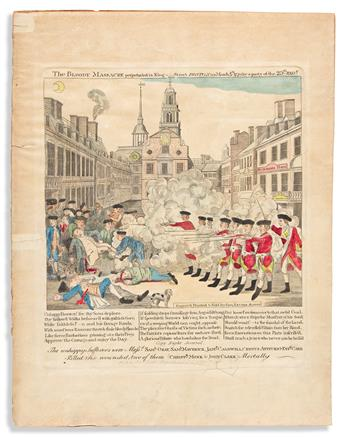(REVOLUTION--PRELUDE.) [Stratton], engraver; after Revere. The Bloody Massacre Perpetrated in King-Street, Boston.