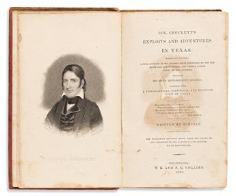 DAVID CROCKETT. Group of 3 books: Tour to the North and Down East / Exploits and Adventures in Texas / Narrative of the Life.