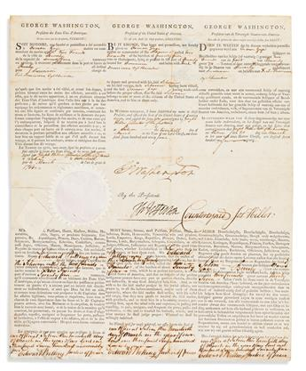 WASHINGTON, GEORGE. Partly-printed Document Signed, G:Washington, as President,