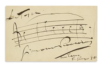 PUCCINI, GIACOMO. Autograph Musical Quotation dated and Signed, 3 bars from Tosca,