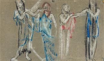 ARTHUR B. DAVIES (1862-1928) Draped Female Figures.