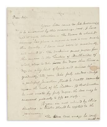 RUSH, BENJAMIN. Autograph Letter Signed, Benjn Rush, to Jacob Broome,
